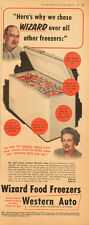1953 vintage appliance AD, WIZARD Food Freezer at Western Auto   -040214