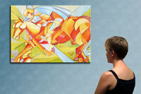 """39"""" - THE RIDER__________ ORIGINAL cubist oil on canvas PAINTING by Raluca !!!!!"""