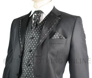 Mens Wedding Party Suit Black Silver Striped Design Waistcoat, Crovat & Handkerc