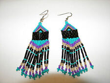 "Seed  Bead  Earrings NEW Navaho teal and purple  Handmade 3 1/2 x 1""  wow"