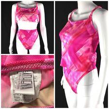 Vintage 90's Athena High Cut Waist Sz 12 Tankini Bathing Suit Pink Geometric