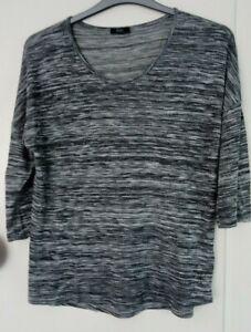 grey striped  t-shirt top size 12