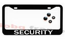 SECURITY vehicle truck security guard Black License Plate Frame +Screw Caps