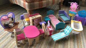 Dolls House Fits Barbie wooden Furniture Bedroom Table Chair Kitchen Bundle