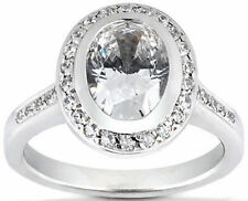 1.36 carat 1.01 ct Oval Shape Diamond Solitaire 14K White Gold Halo Ring G SI1