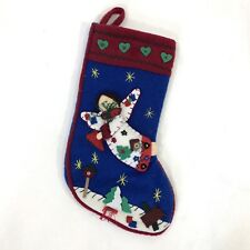 Christmas Hanging Fleece Stocking Angel Blue Red Holiday 17 X 8 NEW