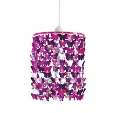 BUTTERFLY WIND CHIME LIGHT PENDANT PINK PURPLE SHIMMER GIRLS BEDROOM