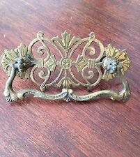 Antique brass hardware dresser pulls Victorian Art nouveau cabinet drawer pulls