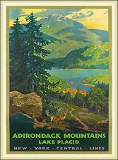Adirondack Mountains Lake Placid New York U.S. Travel Advertisement Poster