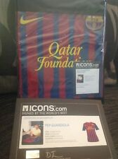 pep guardiola signed barcelona fc shirt icons coa manchester city messi rare