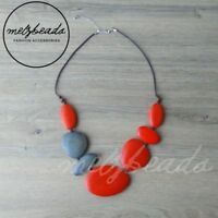 Multi Shape Wooden Bead Necklace Statement Necklace Red Grey Chunky Ladies