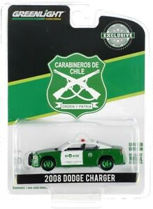 """Chase 2008 DODGE CHARGER POLICE """"CARABINEROS DE CHILE"""" 1/64 GREENLIGHT 30237"""