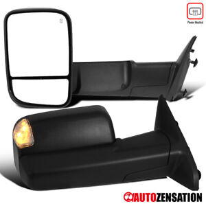For 2013-2015 Dodge Ram 1500 2500 3500 Tow Mirrors+LED Puddle+LED Turn Signal