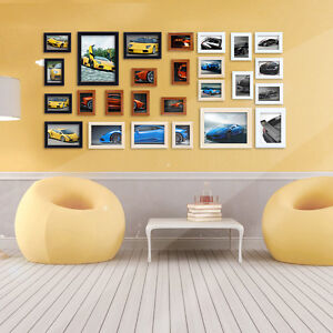 26PCs Creative Wooden Photo Collage Frames Wall Art Set for Modern Home Office