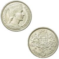 1929 Lettland 5 Pieci Lati Münze Medaille Trachtenmädchen Milda 835 Silber