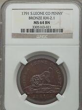 1791 Sierra Leone 1 Cent, NGC MS 64, KM 2.1, 32mm, Scarce in MS