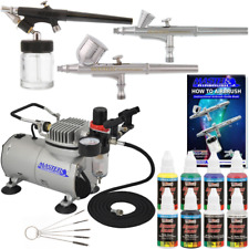 3 Airbrush Air Compressor Kit Pro Art Paint Gun 6 Primary Color Hobby Set Supply