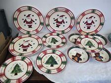 BENCHMARK CHRISTMAS DINNERWARE PLATES BOWLS  RED GREEN PLAID SANTA TREE BEAR