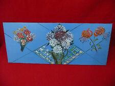 Huile sur toile décor floral tableau vase de fleurs peinture 1960 / 1980