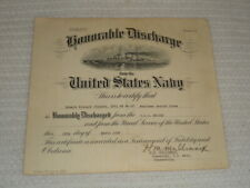 1938 U.S. Navy Honorable Discharge Certificate Signed 2x by Henry M. Mullinnix