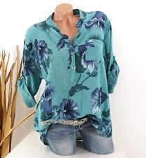 Bluse Damen Tunika 42 44 46 aqua grün Longbluse Fischerhemd Leinen Optik Blumen