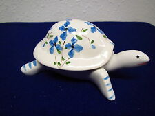 Ceramic Turtle Trinket Box,  Hand painted Blue floral designed  from Portugal