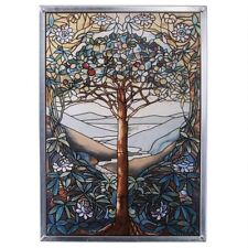 Tree Of Life Tiffany-Style Design Toscano Art Glass For Window Or Display