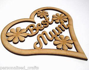 MDF 3mm Wooden Heart Mother's Day / Best Mum Birthday Celebrations /Crafts