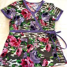 Koi Purple Floral Scrub Top Sz Small by Kathy Peterson Nurse Medical