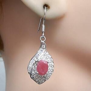 World Class 5.00ctw Mozambique Ruby & Diamond Cut White Sapphire 925 Earrings