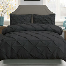 3 PCS Super King Black Quilt Cover Set Doona Bedding Pinch Pleated Boys Room