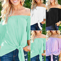 Women Off Shoulder Lace-up Blouse Ruffle Short Sleeve Summer Casual T-Shirts Tee