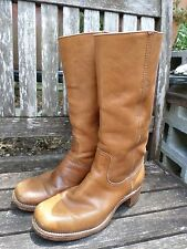 """FRYE 2955 true vintage made USA tan leather 14"""" Campus boots 8D"""
