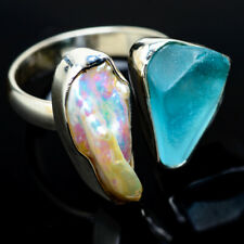 Aquamarine, Mother Of Pearl 925 Sterling Silver Ring Size 8 Jewelry R14527F