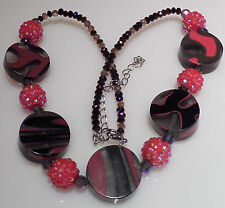 Pink Flat Faceted Bead Necklace