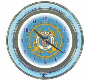 Coast Guard Core 2 Ring Neon Wall Clock Brand New