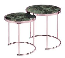 Visio Set/2 Round Nesting/Side/Coffee Table,Brown Marble Glass/Copper-GNT09MRB