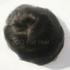 Swiss Lace Black Men Toupees Bleached Knots Hair Replacement Systems Hairpieces