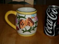 BUTTERFLIES AND LADY BUGS, 3-D IMAGES, Ceramic Coffee Cup / Mug, Vintage