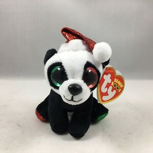 """Ty Beanie Boos Key Clip PANDY CLAUS Christmas Panda Bear 4"""" Claire's Exclusive"""