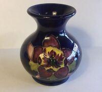 Vintage Moorcroft Cobalt Blue Pottery Vase English Anemone Flower