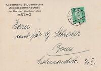 Postkarte verschickt von ASTAG Bonn aus dem Jahr 1932