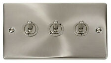 Deco  Victorian Satin Chrome 3 gang 2 way 10AX Toggle Light Switch - VPSC423