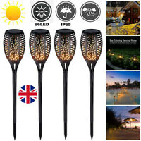 4pcs True Flame Solar Torch Light Warm white LED Flickering Stake Outdoor Garden