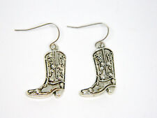 Western Boot Pierced Earrings Silver Tone with Antiquing