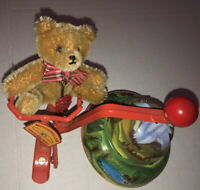 HERMANN Teddy Vintage Motor Roller Key-Wind German Gold Mohair Bear Riding Bike