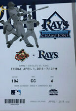 Baltimore Orioles vs Tampa Bay Rays Ticket Stub 4/1/11 - Opening Day! Mint!!!