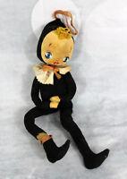 Vintage 1950s 1960s Dakin Dream ? Big Eyes Cloth Harlequin Jester Doll Wire Yarn