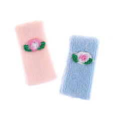 Dollhouse Miniature Bathroom Accessory Set of 2 Towels Pink & Blue Flower NJ