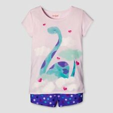 Girls' 2pc Short Sleeve Dino Pajama Set - Cat & Jack Pink/Purple M 7/8